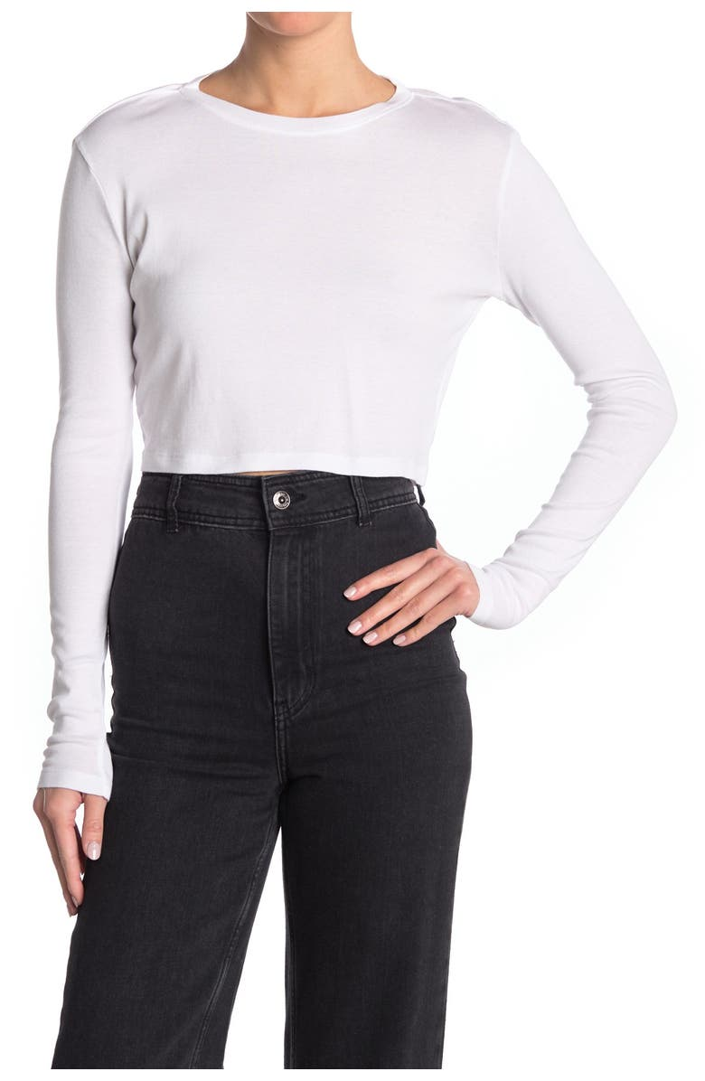 ABOUND Cropped Long Sleeve Top, Main, color, WHITE
