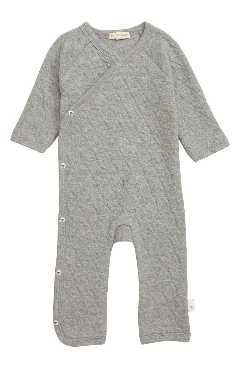 BURT'S BEES BABY Quilted Organic Cotton Romper, Main, color, HEATHER GREY