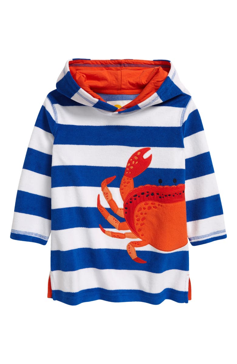 MINI BODEN Kids' Towelling Throw-On Hooded Cover-Up, Main, color, BOLD BLUE/ WHITE CRAB