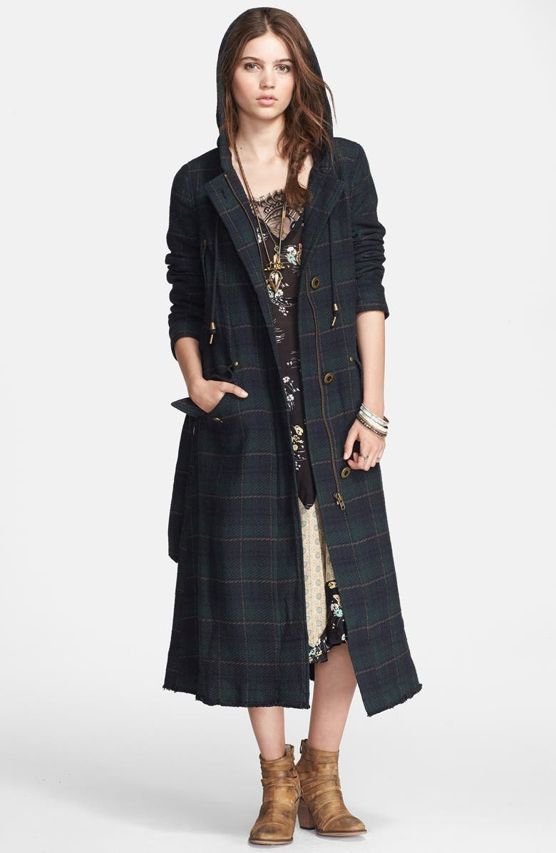 FREE PEOPLE Plaid Hooded Maxi Coat, Main, color, NAVY PLAID
