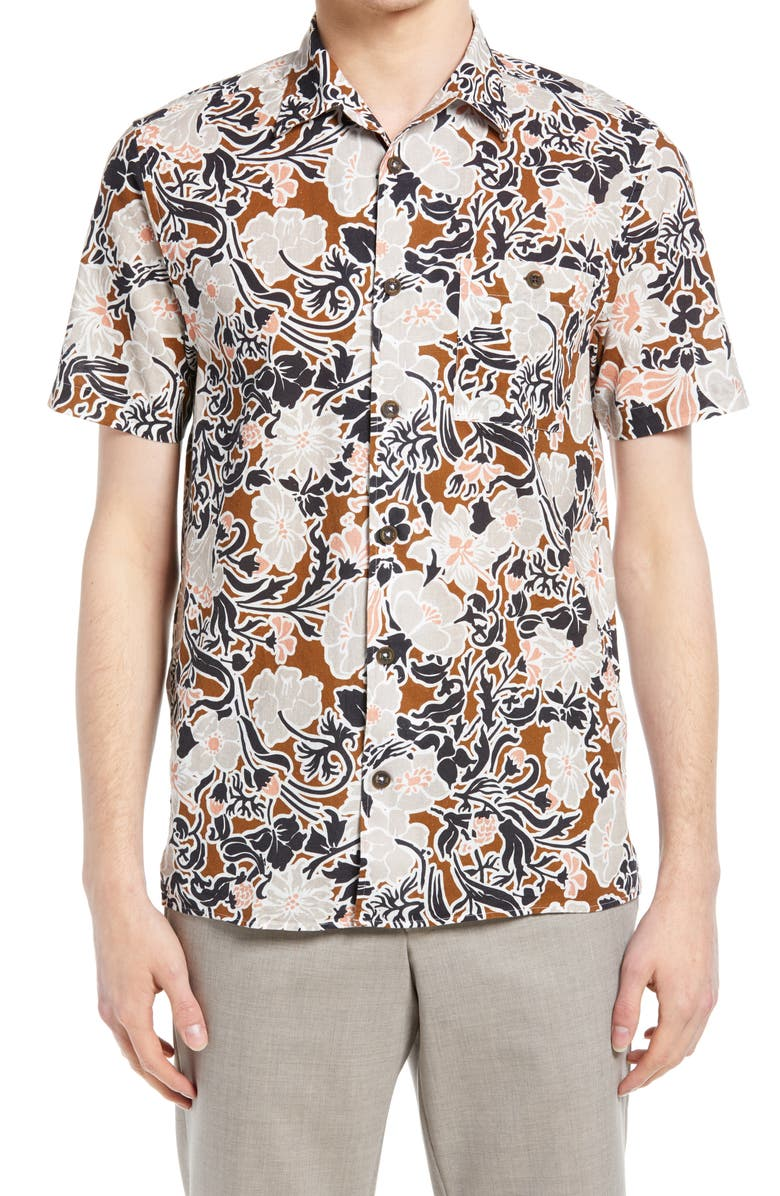 TED BAKER LONDON Sitcom Floral Short Sleeve Button-Up Shirt, Main, color, BROWN