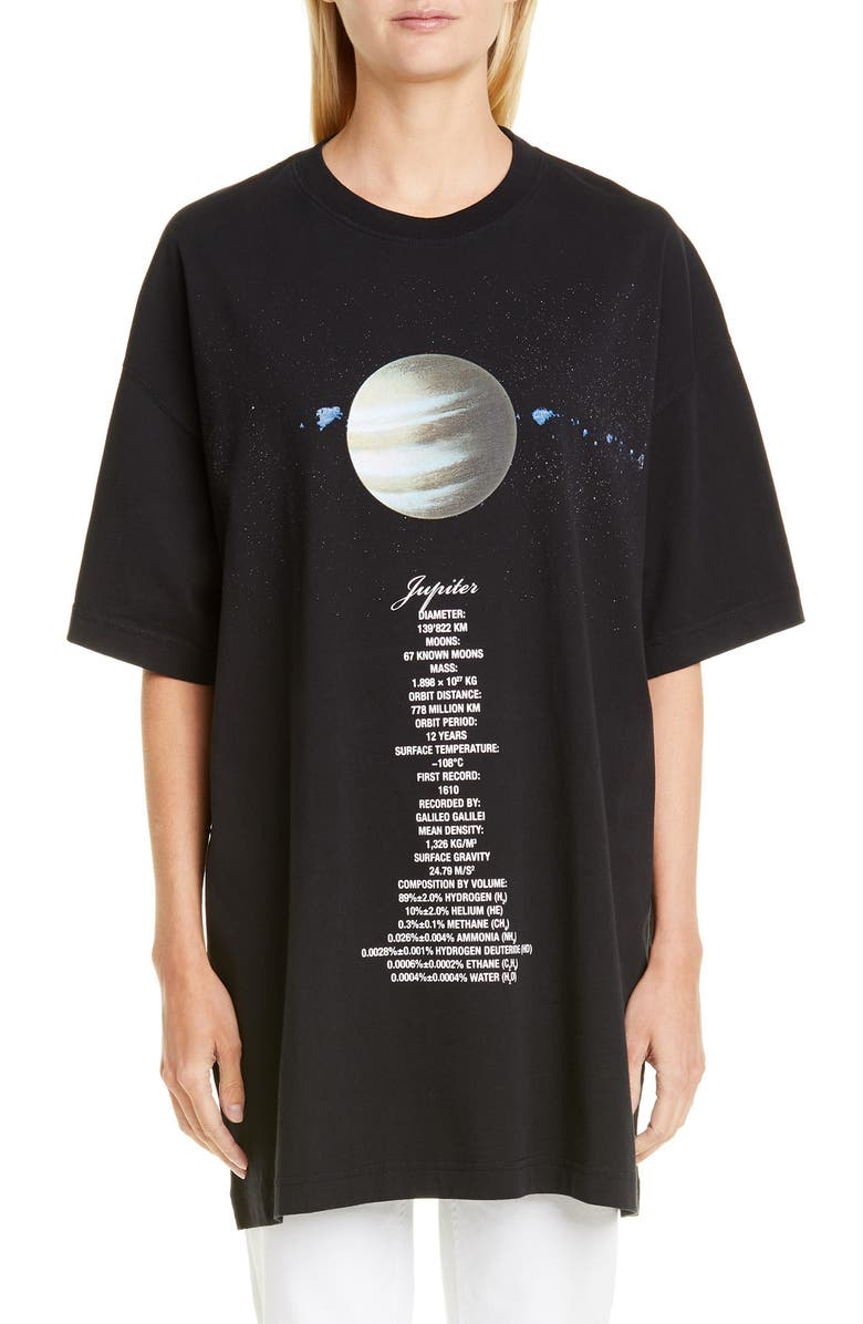 VETEMENTS Planet Number Graphic Oversize Tee, Main, color, 001
