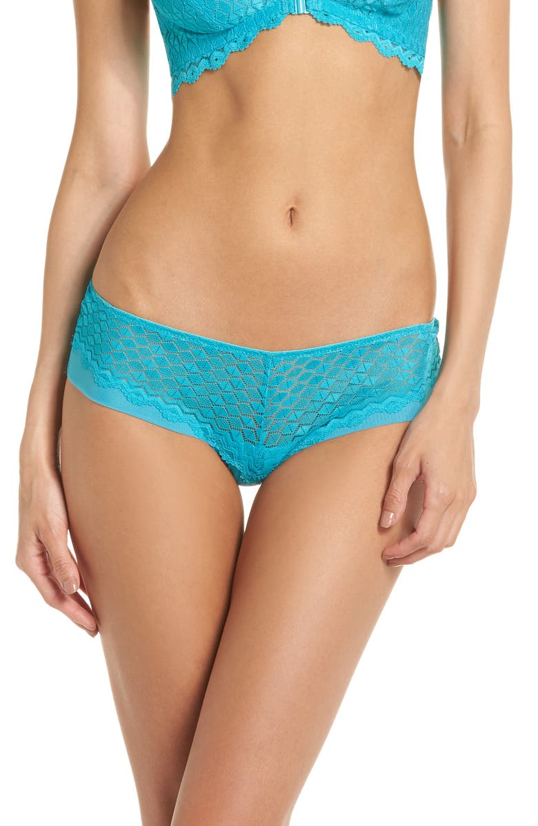 B.TEMPTD BY WACOAL Love Triangle Hipster Thong, Main, color, PEACOCK BLUE