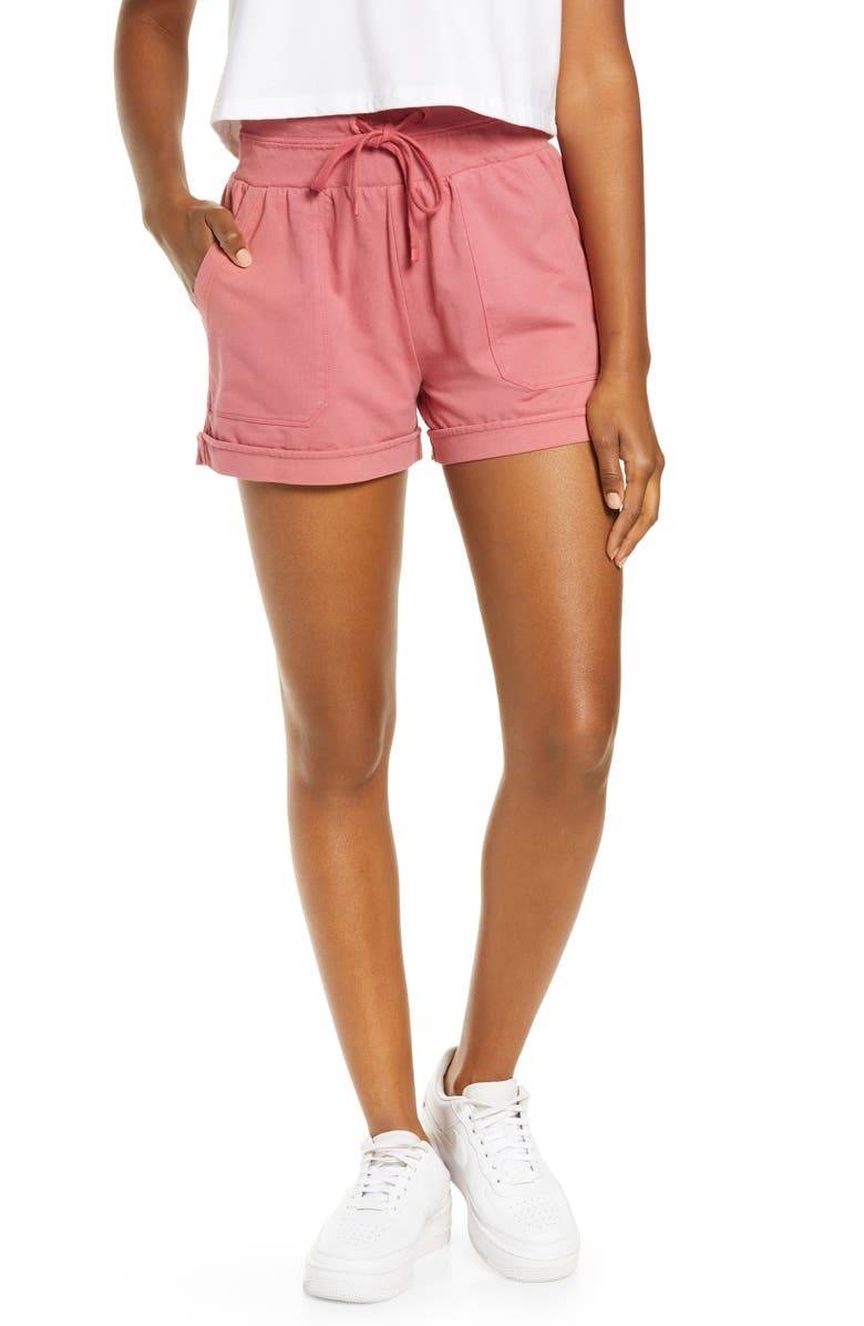 ZELLA Washed Organic Cotton Shorts, Main, color, PINK MAUVE