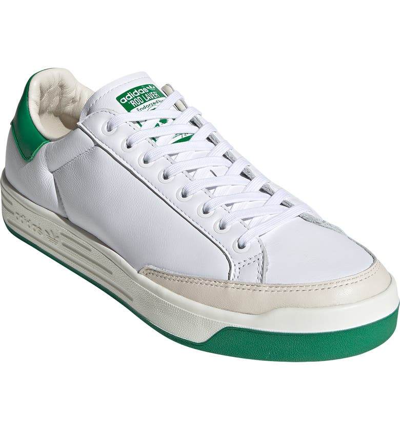 ADIDAS Rod Laver Vintage Leather Sneaker, Main, color, WHITE/ GREEN/ OFF WHITE