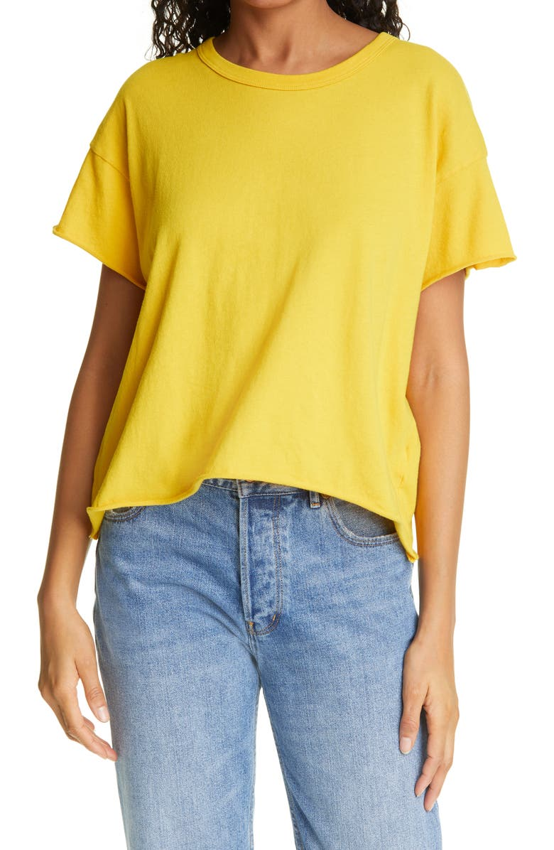 THE GREAT. The Crop Tee, Main, color, GOLDEN YELLOW