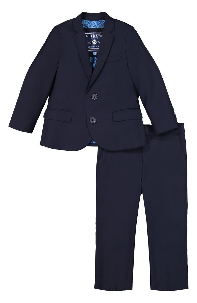 ANDY & EVAN Solid Stretch Two-Piece Suit, Main, color, NAVY