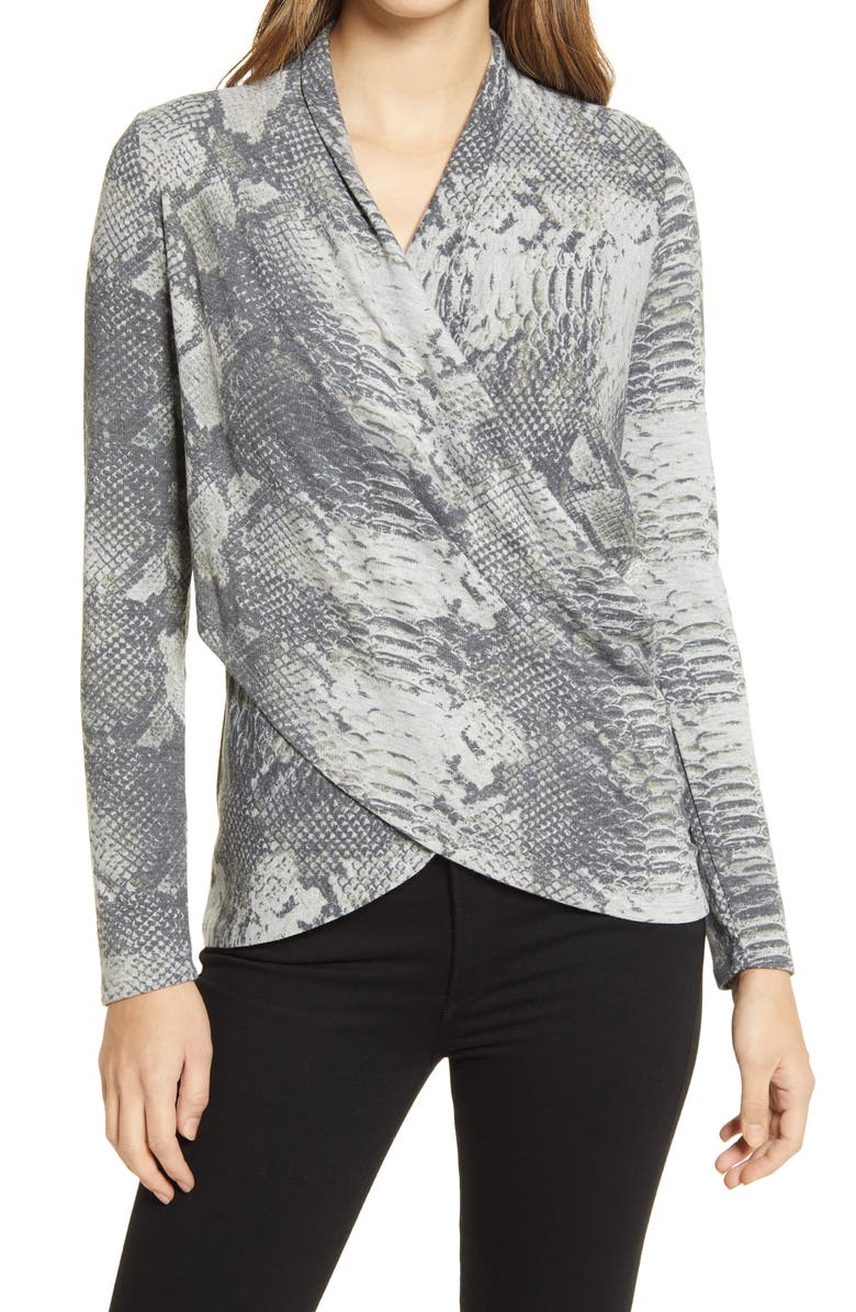 1.STATE Graphic Python Print Top, Main, color, SILVER HEATHER