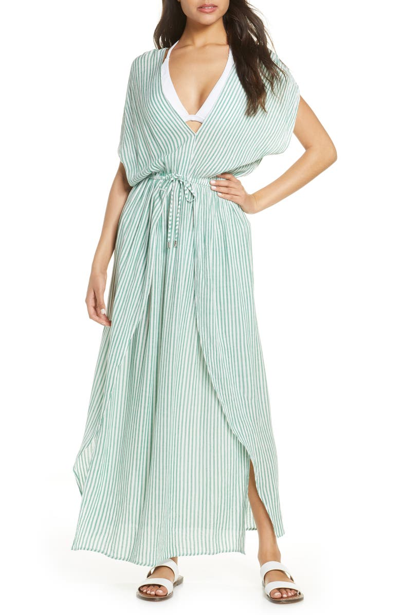ELAN Wrap Maxi Cover-Up Dress, Main, color, KELLY GREEN STRIPE
