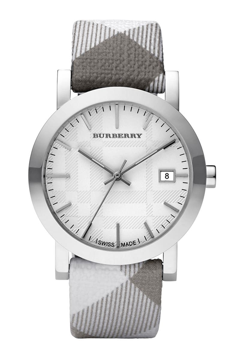 BURBERRY Round Case Check Strap Watch, Main, color, 020