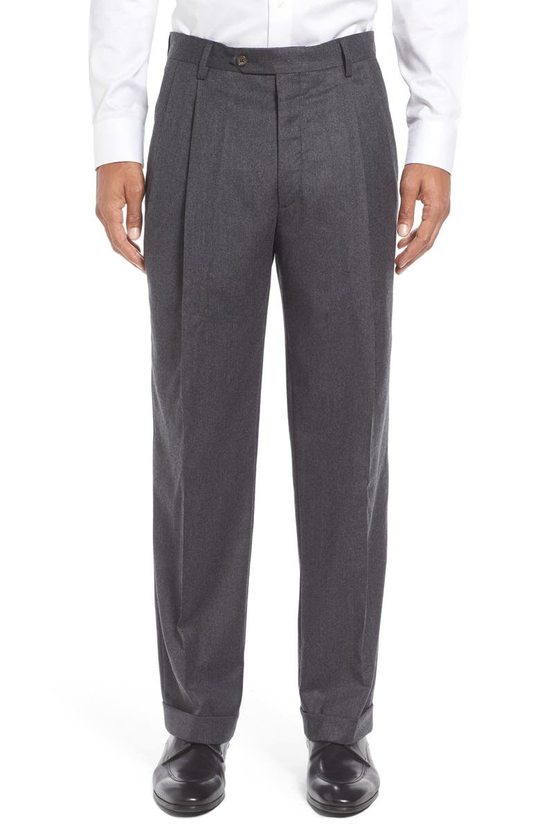 BERLE Lightweight Flannel Pleated Classic Fit Dress Trousers, Main, color, Medium Grey
