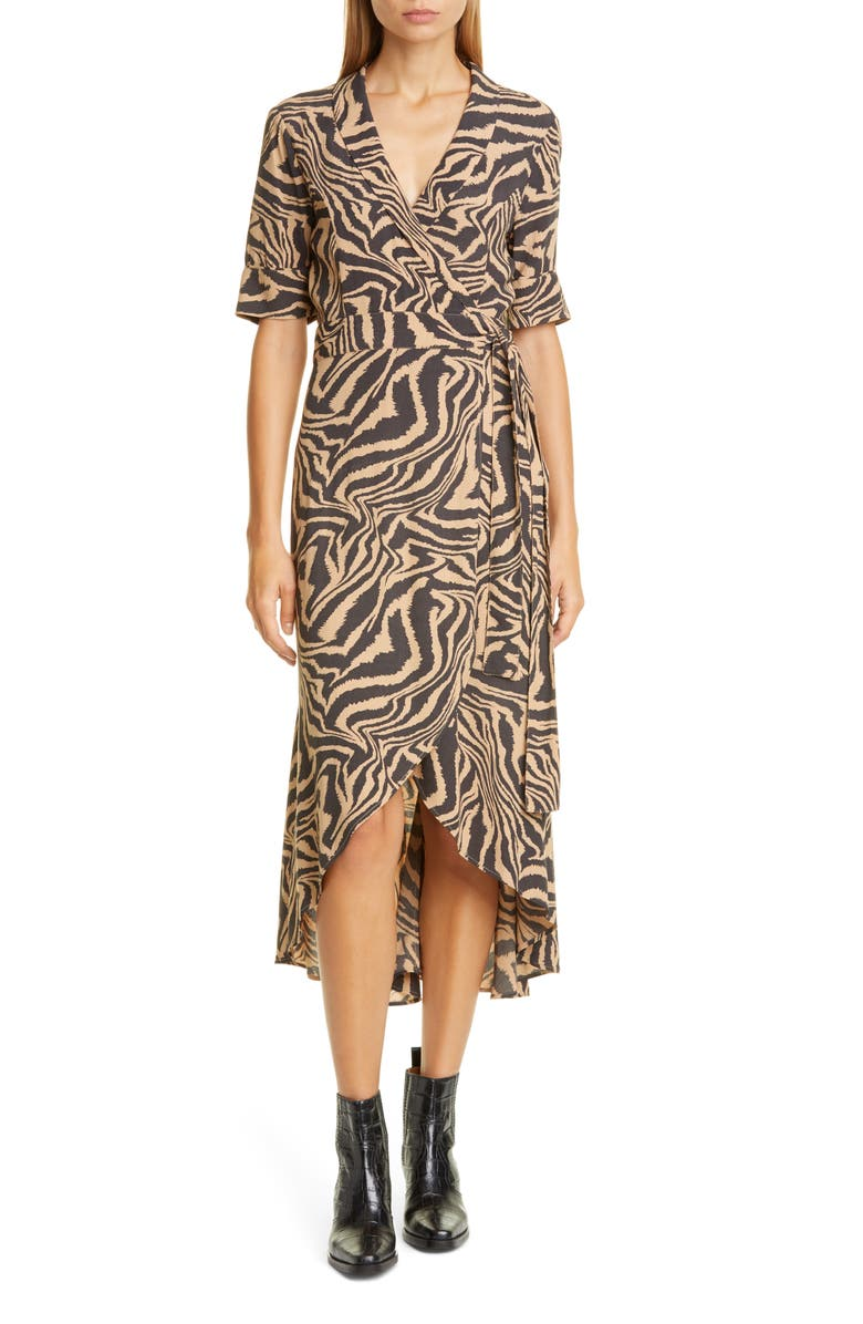 GANNI Tiger Stripe Print Wrap Midi Dress, Main, color, 250
