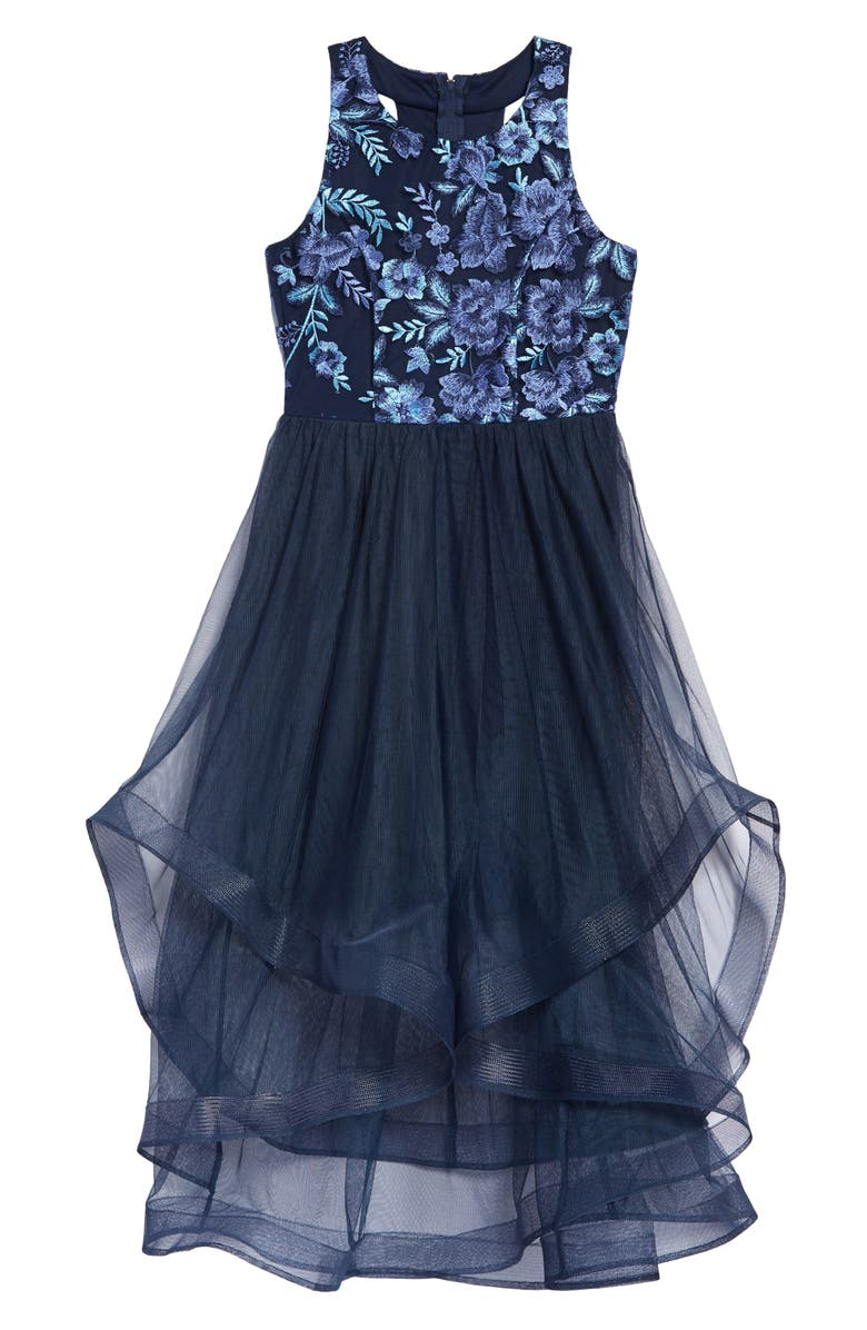 TRIXXI Kids' Embroidered Tulle Dress, Main, color, NAVY