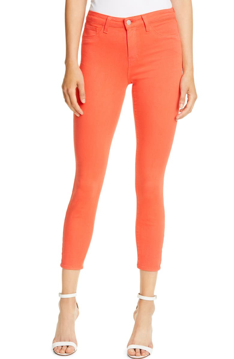 LAGENCE Marguerite High Waist Skinny Ankle Jeans, Main, color, HIBISCUS