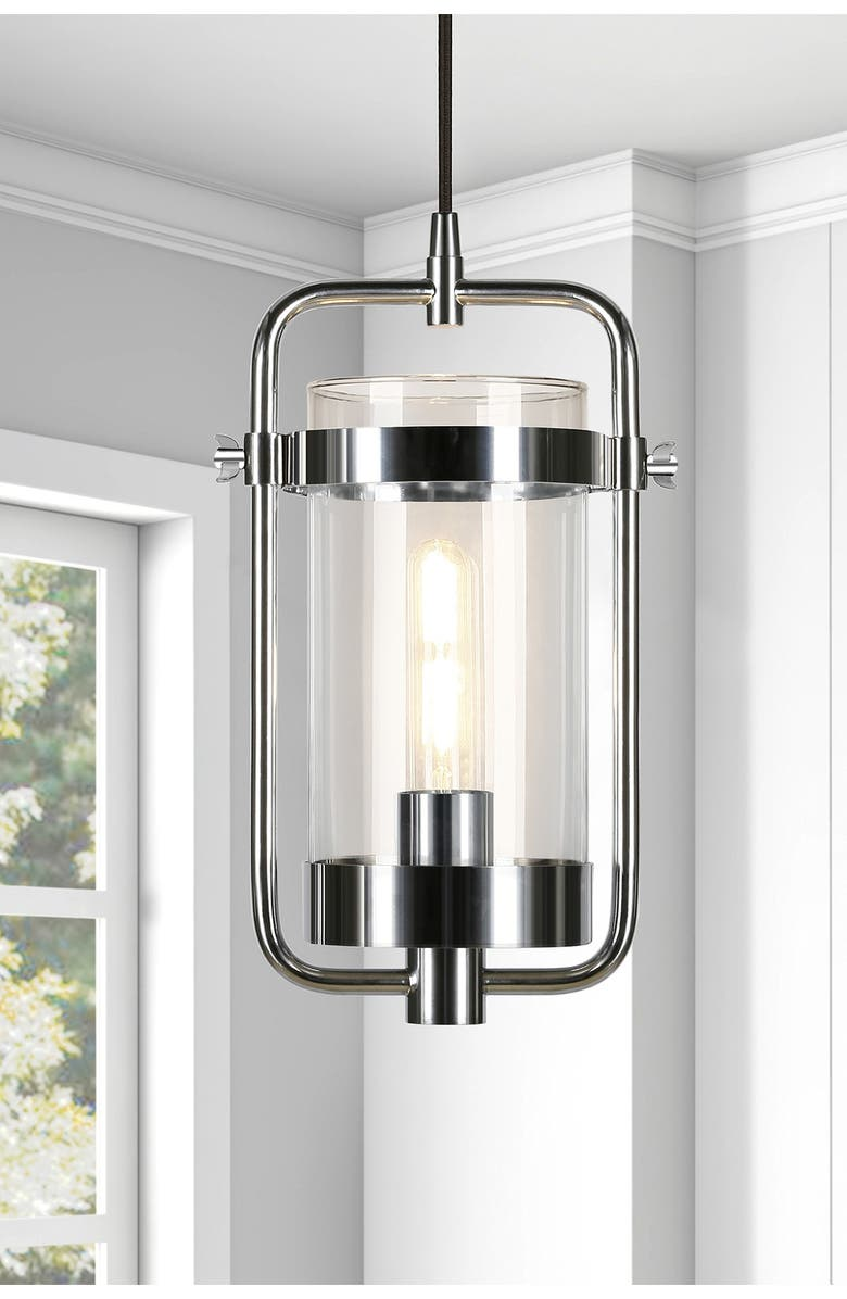 ADDISON AND LANE Orion Industrial Metal & Glass Pendant - Nickel, Main, color, SILVER