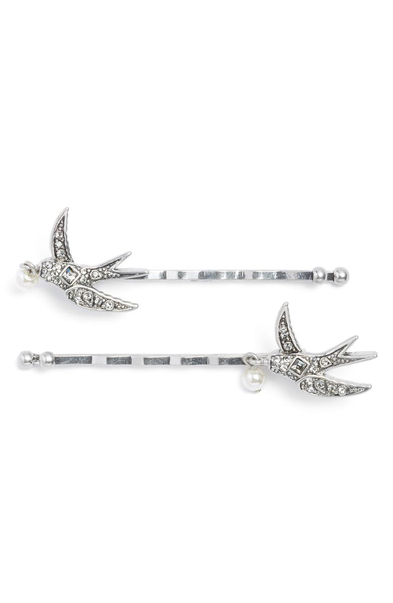 MARC JACOBS 'Swallow' Bobby Pins, Main, color, CRYSTAL/ ANTIQUE SILVER