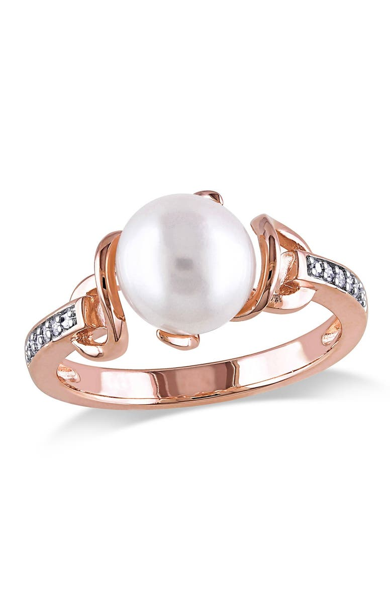DELMAR Rose Gold-Tone Sterling Silver 8mm White Cultured Freshwater Pearl and Diamond Twist Ring - 0.06 ctw, Main, color, WHITE