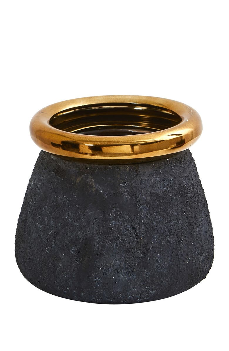 NEARLY NATURAL 10in. Stone Planter with Bronze Rim, Main, color, BLACK