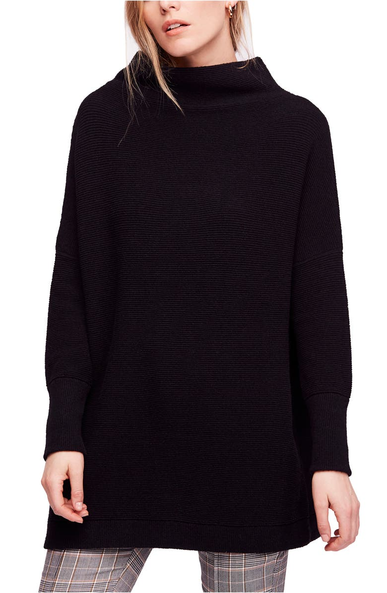 FREE PEOPLE Ottoman Slouchy Tunic, Main, color, BLACK