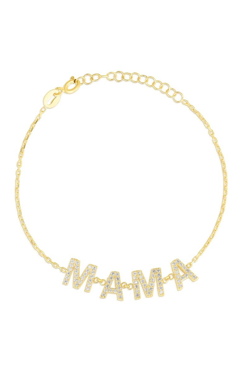 SPHERA MILANO 14K Yellow Gold Plated Sterling Silver Pave CZ 'MAMA' Charm Bracelet, Main, color, WHITE/YELLOW GOLD