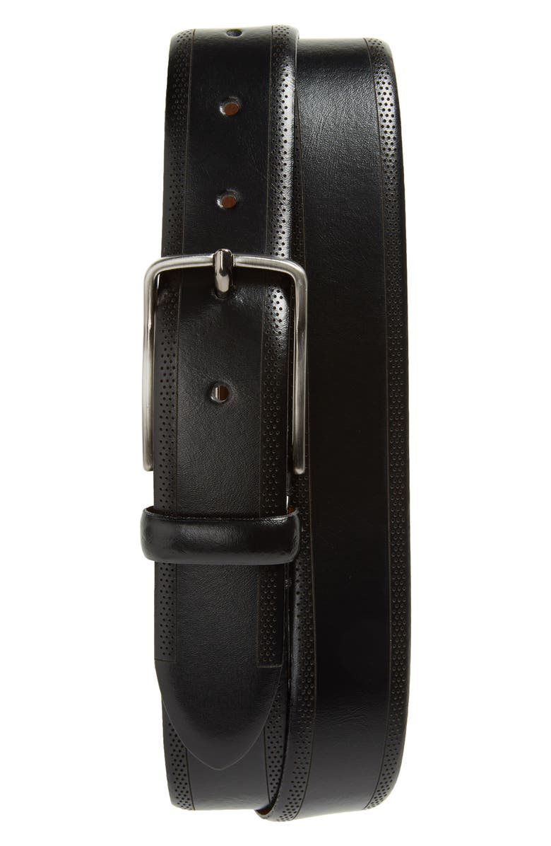 JOHNSTON & MURPHY Perforated Leather Belt, Main, color, Black