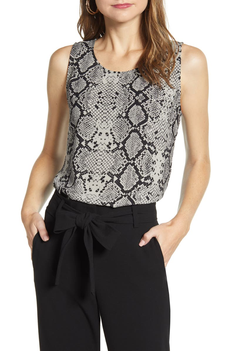 HALOGEN<SUP>®</SUP> Scoop Neck Woven Shell, Main, color, GREY SNAKE PRINT