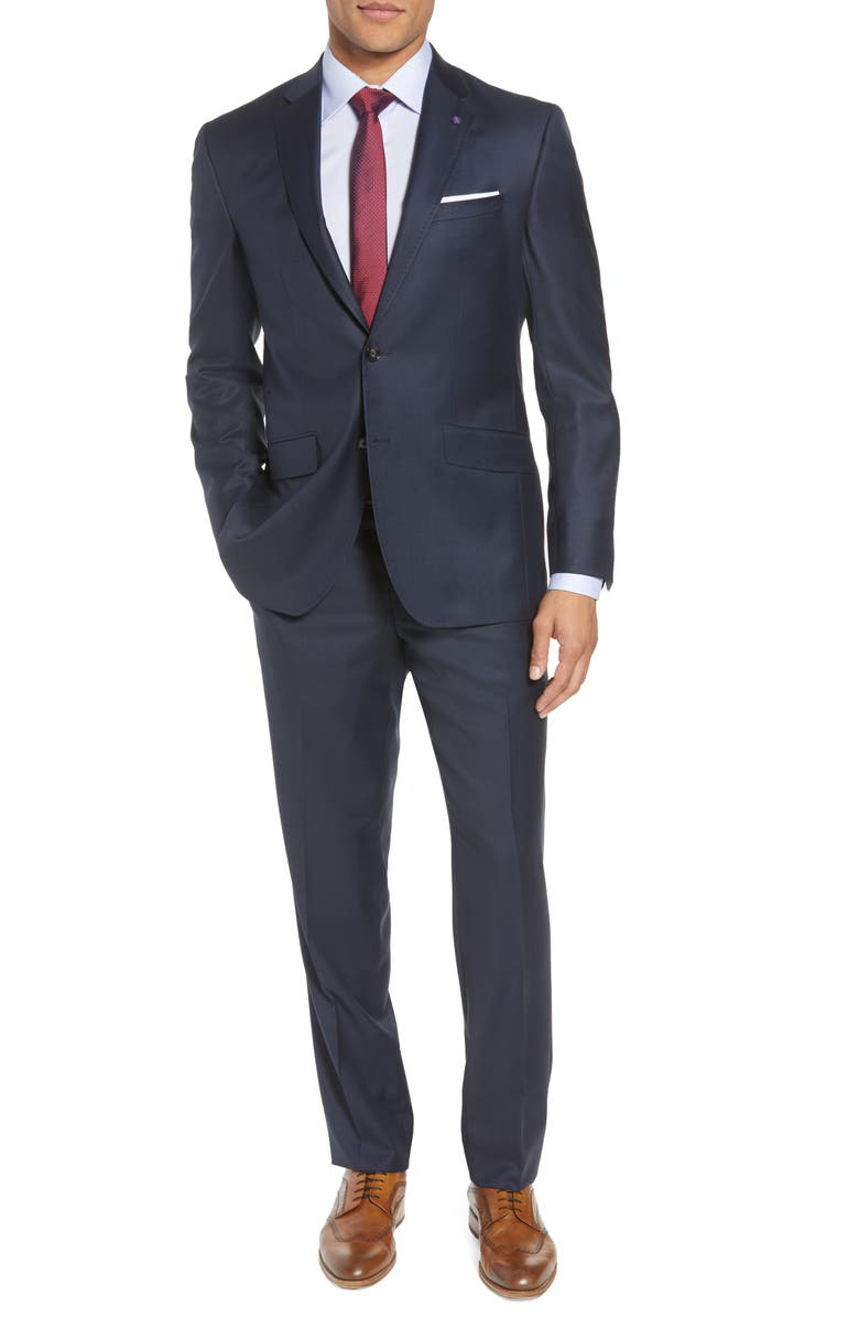 TED BAKER LONDON Jones Trim Fit Solid Wool Suit, Main, color, BLUE