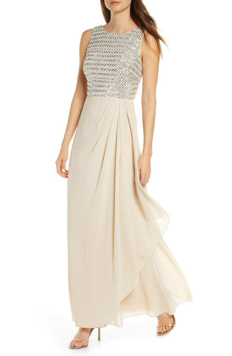 VINCE CAMUTO Sequin Chiffon Gown, Main, color, 900