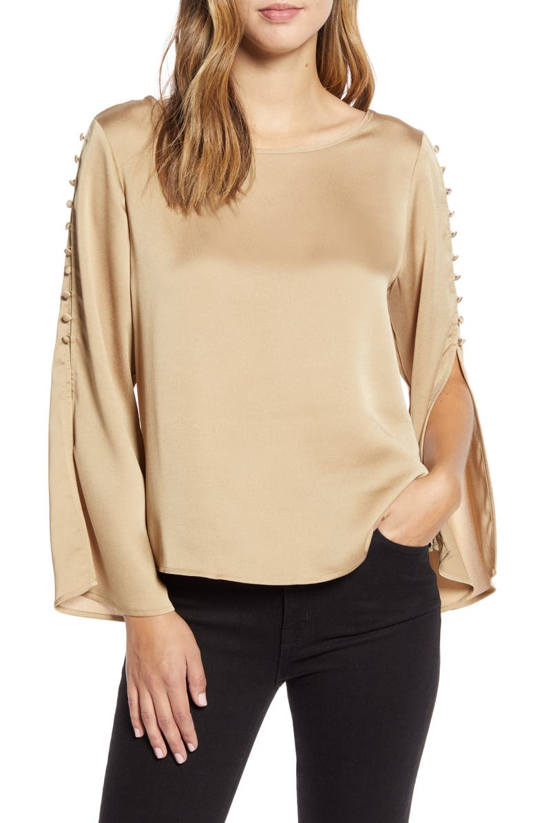 VINCE CAMUTO Button Detail Slit Sleeve Hammered Satin Top, Main, color, 257