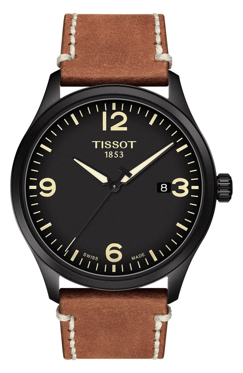 TISSOT Gent XL Classic Leather Strap Watch, 42mm, Main, color, BROWN/ BLACK