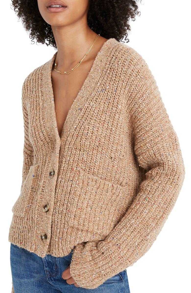 MADEWELL Speckled Rib Cardigan Sweater, Main, color, 200