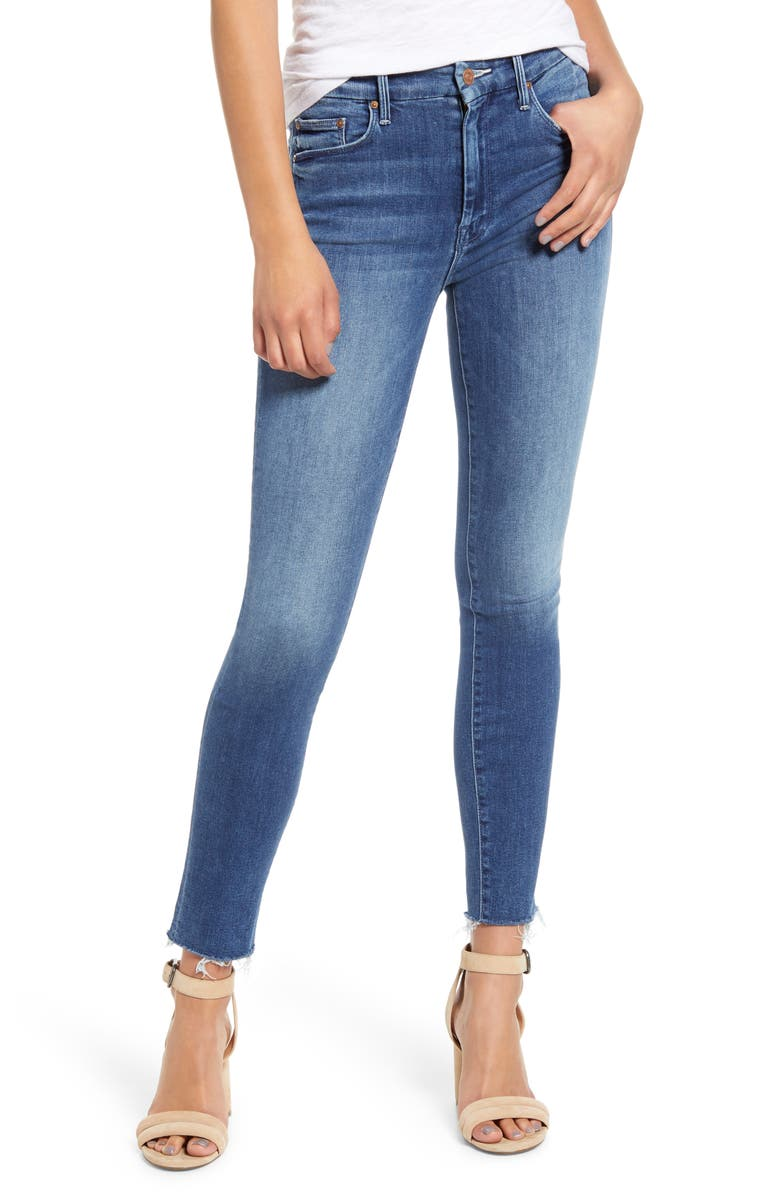 MOTHER 'The Looker' Frayed Ankle Jeans, Main, color, GROOVIN