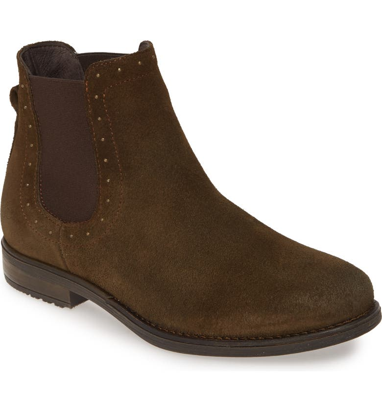 BOS. & CO. Risk Waterproof Chelsea Bootie, Main, color, OLIVE/ BROWN SUEDE