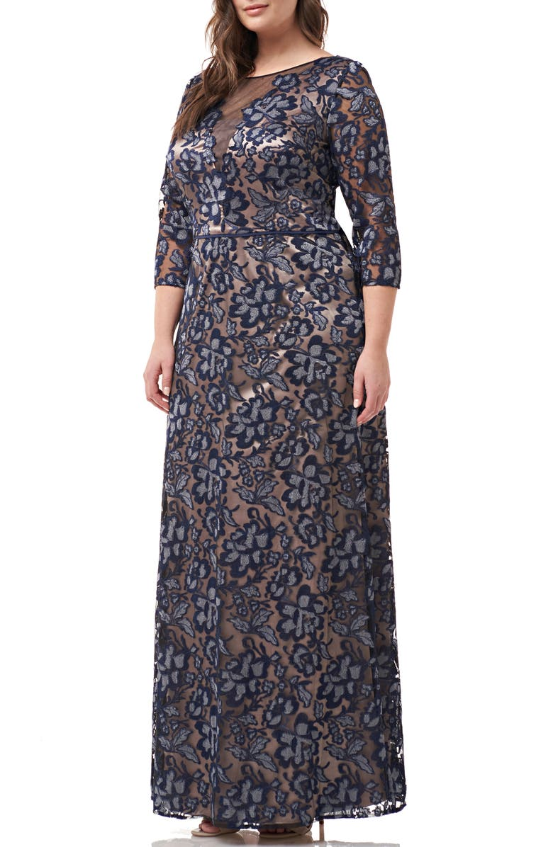 JS COLLECTIONS Embroidered A-Line Gown, Main, color, NAVY SILVER