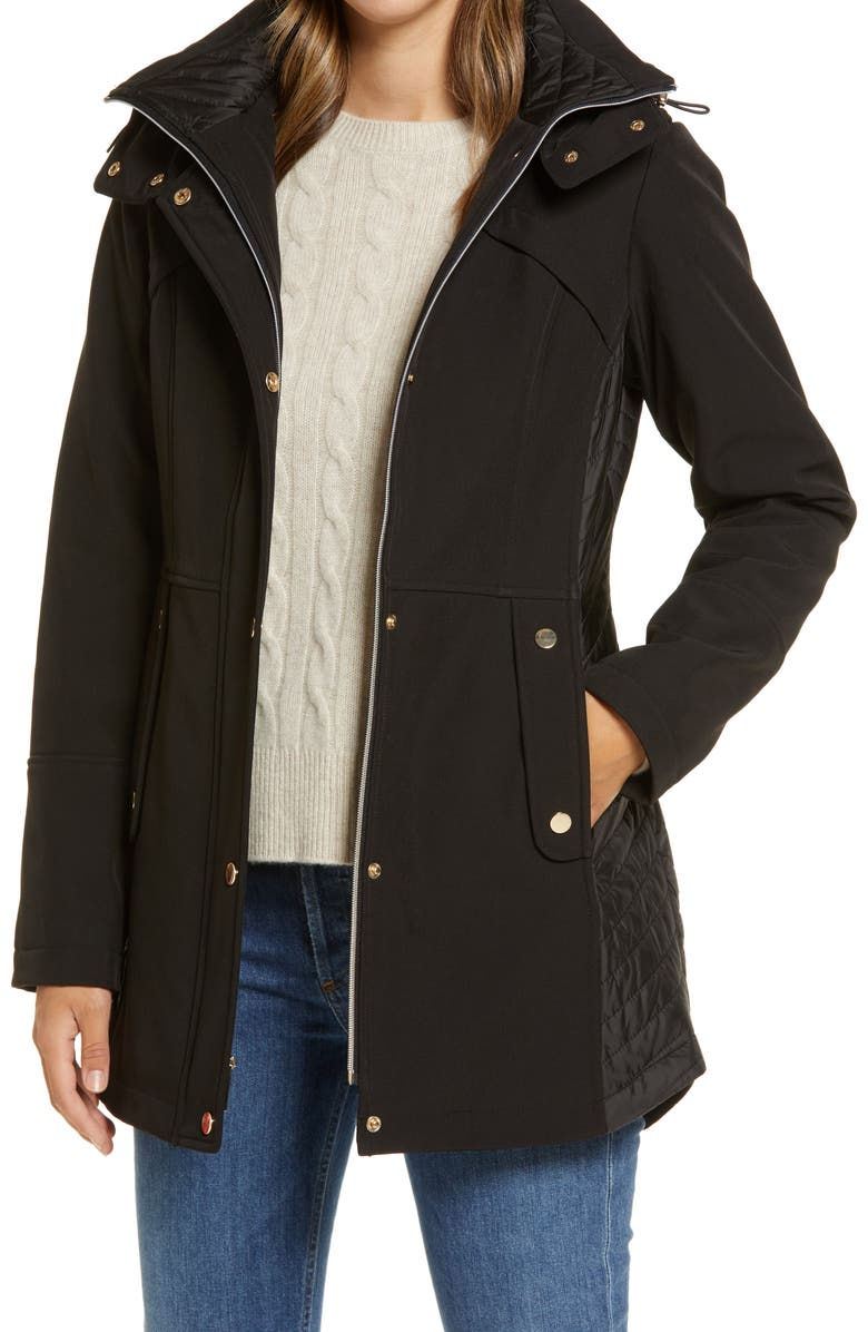 GALLERY Hooded Soft Shell Jacket, Main, color, BLACK