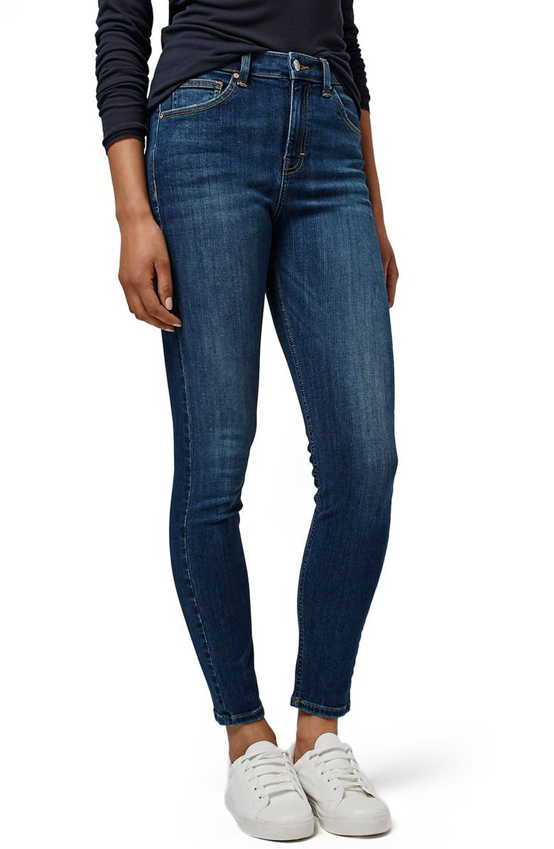 TOPSHOP 'Jamie' High Rise Skinny Jeans, Main, color, BLUE