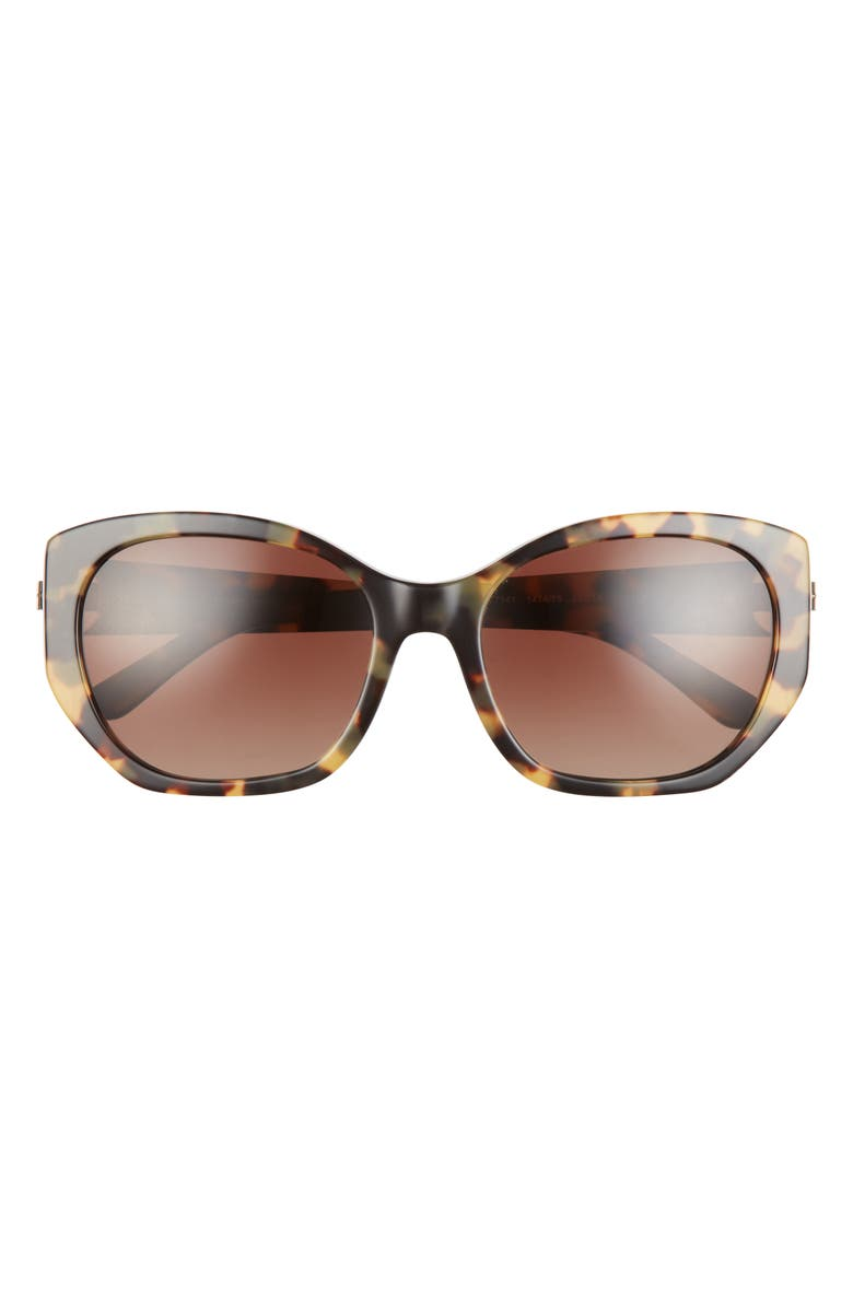 TORY BURCH 55mm Gradient Polarized Oval Sunglasses, Main, color, TORTOISE/ BROWN GRADIENT