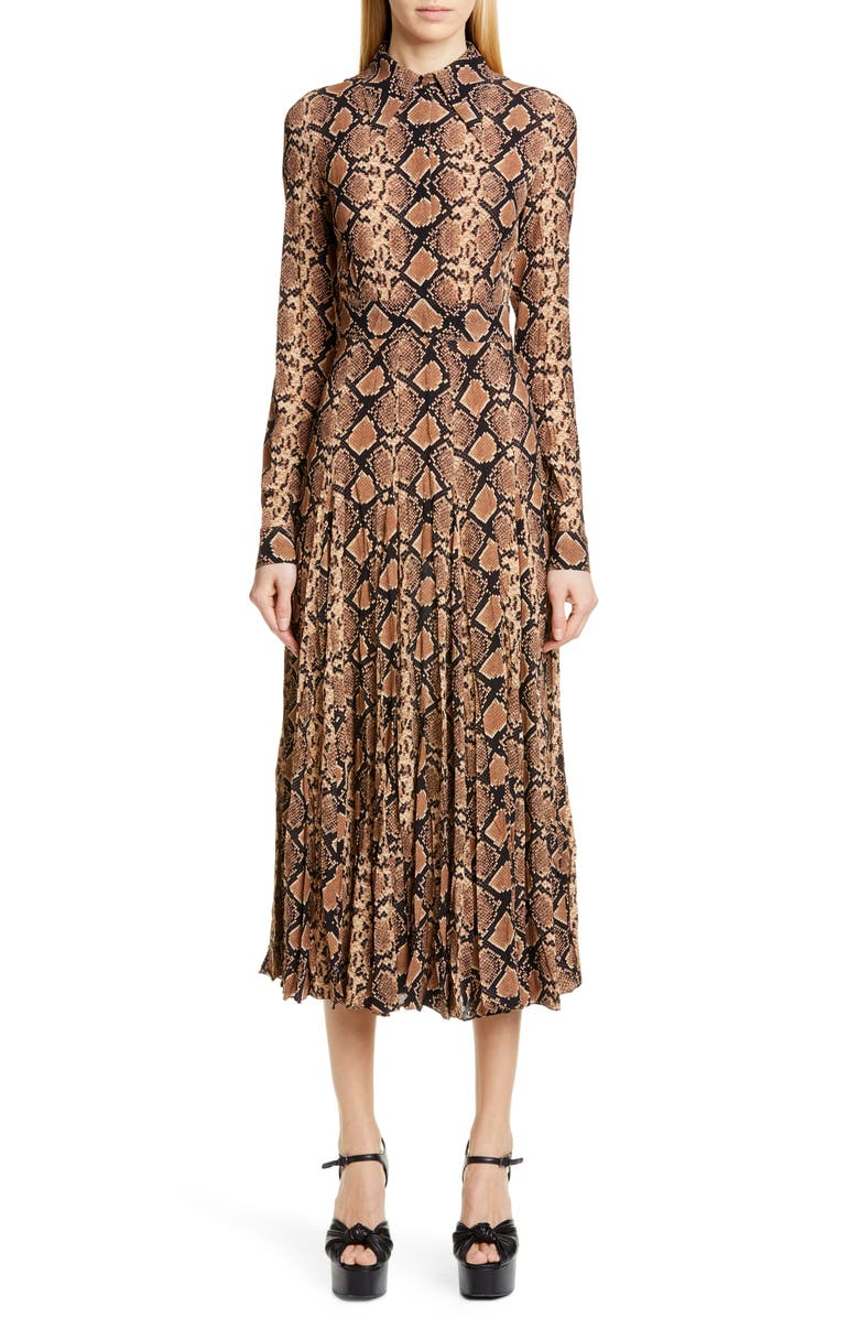 MICHAEL KORS COLLECTION Belted Long Sleeve Crushed Georgette Shirtdress, Main, color, 289