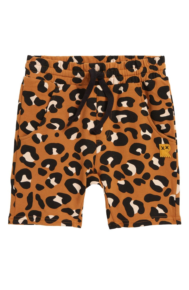 ROCK YOUR BABY Kids' Leopard Shorts, Main, color, BROWN
