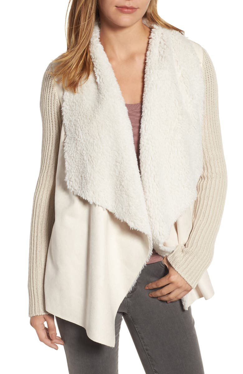 KUT FROM THE KLOTH Opal Drape Front Cardigan with Faux Fur Trim, Main, color, 162