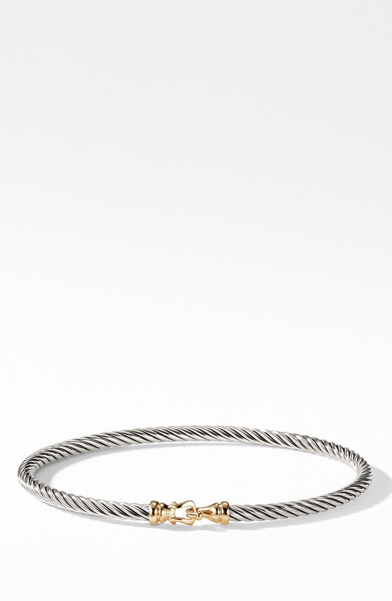 DAVID YURMAN Cable Collectibles Buckle Bangle Bracelet with 18K Gold, 3mm, Main, color, 18KYSS