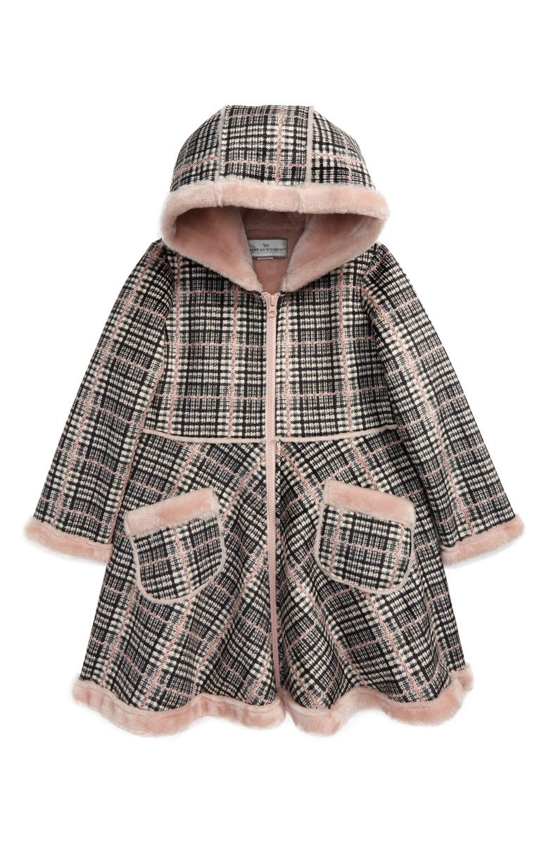 WIDGEON Hooded Circle Skirt Coat with Faux Fur Lining, Main, color, 600