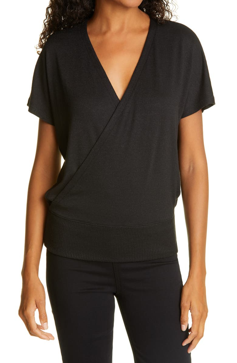 RAG & BONE The Knit Crossover Top, Main, color, BLACK