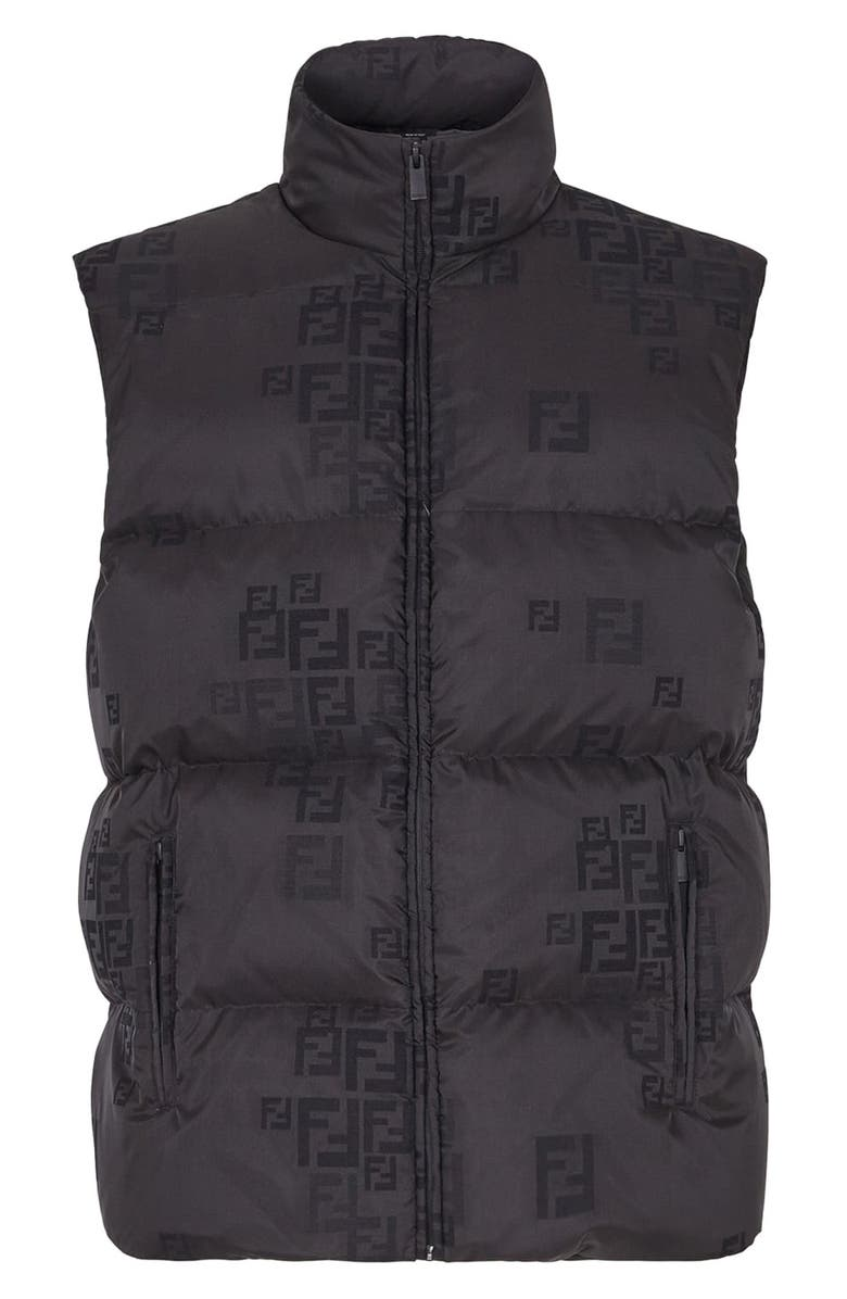 FENDI Logo Down Puffer Vest, Main, color, BLACK