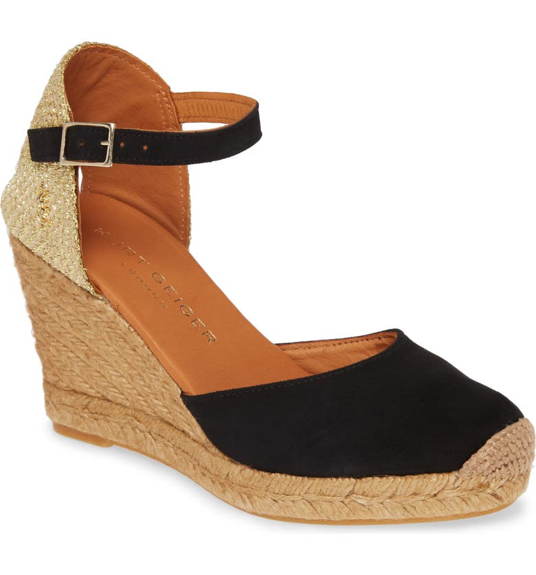 KURT GEIGER LONDON Monty Espadrille Wedge, Main, color, 001