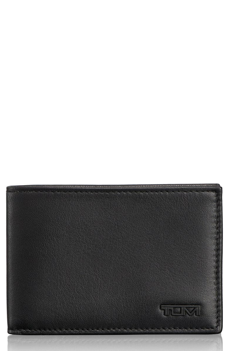 TUMI Delta ID Lock Shielded Slim Single Billfold, Main, color, BLACK