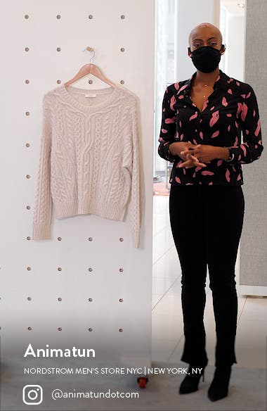 Cable Wool Blend Crewneck Sweater, sales video thumbnail