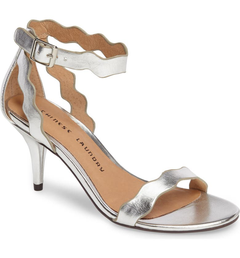 CHINESE LAUNDRY 'Rubie' Scalloped Ankle Strap Sandal, Main, color, SILVER