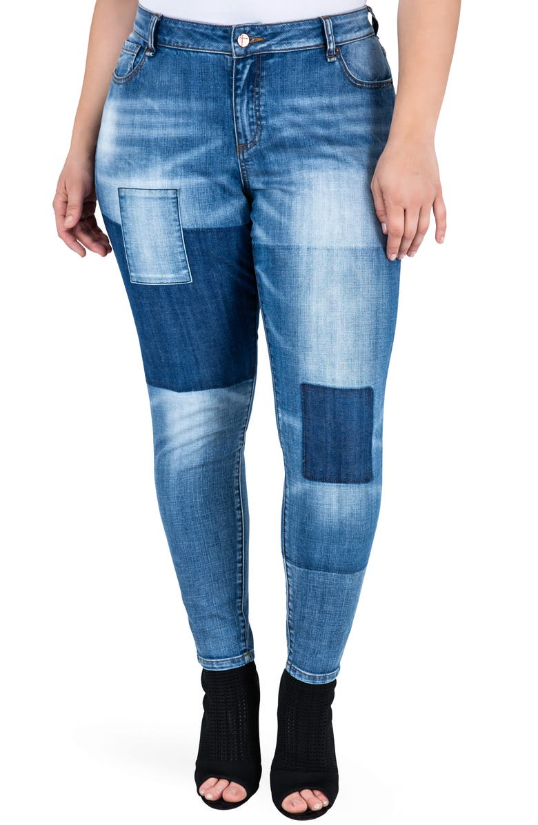 STANDARDS & PRACTICES Isabel Colorblock Skinny Jeans, Main, color, PERIWINKLE