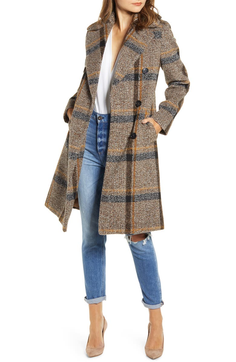 KENDALL + KYLIE Plaid Double Breasted Coat, Main, color, 200